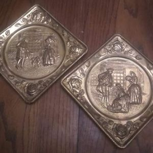 Pair Vintage Brass Colonial-Theme Wall Decorations